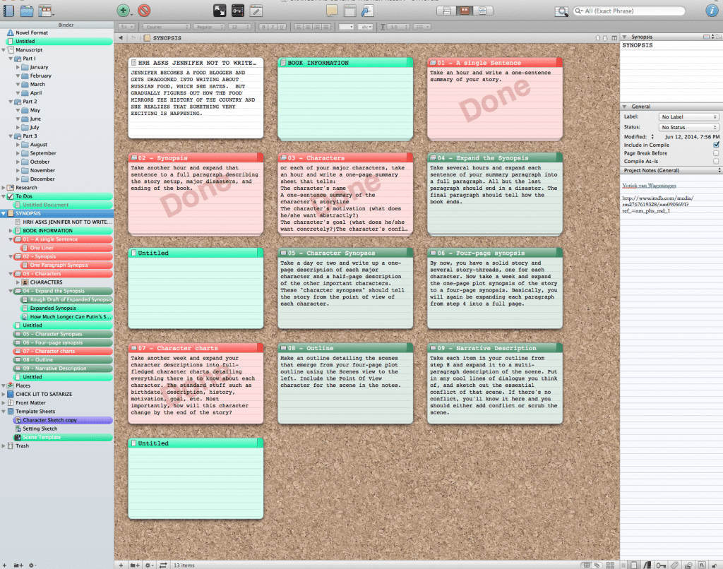 This is a live screenshot of my NaNoWriMo plotting
