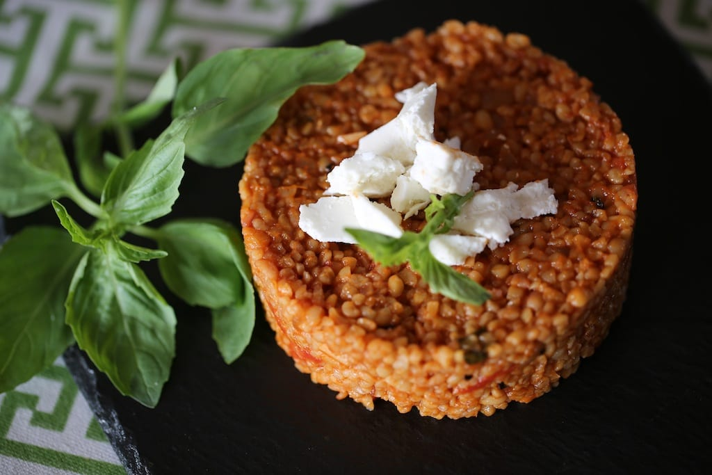 Tomato-infused bulgur salad